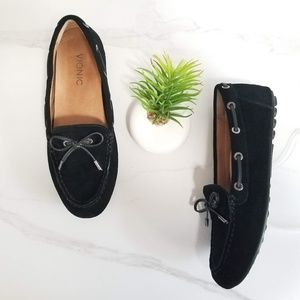 Vionic Virginia Black Suede Driving Loafers Mocs